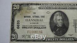 20 $ 1929 Hannibal Missouri Mo Banque Nationale Monnaie Note Bill! Ch. # 6635 Fin