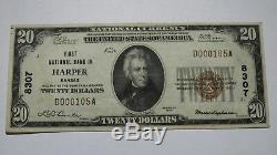 20 $ 1929 Harper Kansas Ks Billets De Banque Nationaux En Billets De Banque Bill Ch. # 8307 Xf + Rare