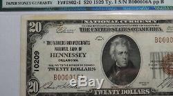 20 $ 1929 Hennessey Oklahoma Ok Billet De Billets De Banque En Monnaie Nationale!