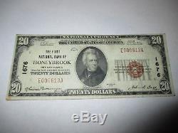 $ 20 1929 Honeybrook Pennsylvania Pa National Monnaie Billet De Banque No 1676 Amende