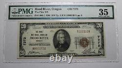 $20 1929 Hood River Oregon Or National Currency Bank Note Bill Ch #7272 Vf35 Pmg
