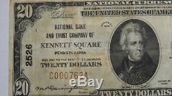 20 1929 $ Kennett Square Pennsylvania Pa Banque Nationale Monnaie Notez Le Projet De Loi # 2526