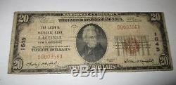 20 $ 1929 Laconia New Hampshire Nh Banque Nationale Monnaie Remarque Le Projet De Loi # 1645 Rare