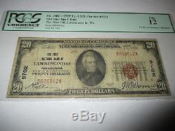 20 $ 1929 Lawrenceville Pennsylvanie Pa Note De La Banque Nationale De Billets De Billets! # 9702