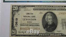 20 $ 1929 Lewiston Idaho ID Banque Nationale Monnaie Remarque Bill Ch. # 13819 Vf25 Pmg