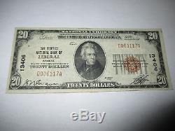 20 $ 1929 Libéral Kansas Ks Billet De Banque De La Monnaie Nationale! Ch. # 13406 Vf