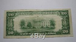 20 $ 1929 Linton Indiana Monnaie Nationale De Billets De Banque Bill Ch. # 7411 Vf +