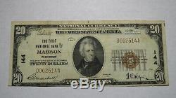 20 $ 1929 Madison Wisconsin Wi Banque Nationale Monnaie Note Bill Ch. # 144 Rare
