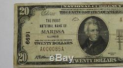 20 $ 1929 Marissa Illinois IL Banque Nationale Monnaie Note Bill! Ch. # 6691 Rare