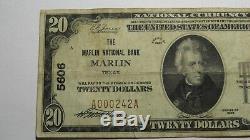 20 $ 1929 Marlin Texas Tx Banque Nationale Monnaie Note Bill! Ch. # 5606 Beaux Rare