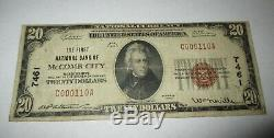 20 $ 1929 Mccomb Mississippi Ville Ms Banque Nationale Monnaie Note Bill! # 7461 Fin
