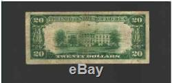 20 $ 1929 Meridian Mississippi Ms Banque Nationale Monnaie Note Ch. # 7266 T1 Nt0155