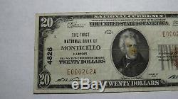 20 $ 1929 Monticello Illinois IL Banque Nationale Monnaie Note Bill! Ch. # 4826 Rare