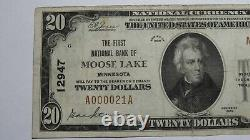 20 1929 Moose Lake Minnesota Mn Monnaie Nationale Banque Note Bill Ch #12947 Rare