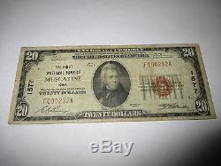 20 $ 1929 Muscatine Iowa Ia Note De La Banque Monétaire Nationale Bill! Ch. # 1577 Fine