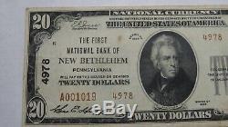 20 $ 1929 New Bethlehem En Pennsylvanie Pa Banque Nationale Monnaie Note Bill # 4978 Vf