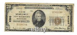 20 $. 1929 New Rockford, Banque Nationale Du Nord Dakota Monnaie Note Bill Ch. # 6393