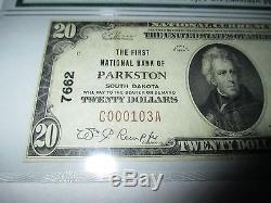 20 $ 1929 Parkston South Dakota Sd National Currency Bank Note Bill! # 7662 Vf