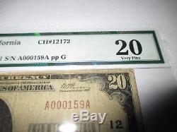 $ 20 1929 Paso Robles Californie Ca Banque Nationale De Devises Note Bill! # 12172 Vf