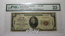 20 $ 1929 Pawhuska Oklahoma Ok Billet De Banque En Monnaie Nationale Bill Ch. # 7883 Vf25