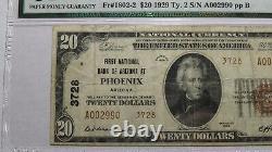 $20 1929 Phoenix Arizona Az Monnaie Nationale Banque Note Bill! Ch. #3728 Vf25 Pmg