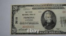 20 $ 1929 Pomona Californie Ca National Monnaie Bank Note Bill! Ch. # 3518 Bien