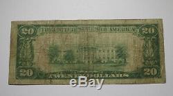 20 $ 1929 Pulaski Virginia Va Banque Nationale Monnaie Note Bill! Ch. # 4071 Fin