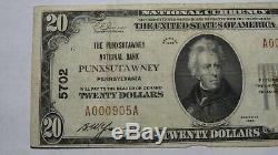 20 $ 1929 Punxsutawney Pennsylvania Pa Banque Nationale Monnaie Note Bill! # 5702 Vf