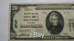 20 $ 1929 Roanoke Virginia Va Banque Nationale Monnaie Note Bill! Ch. # 2737 Vf