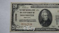 20 $ 1929 Rochester De New York Ny Banque Nationale Monnaie Note Bill Ch # 13330 Vf +