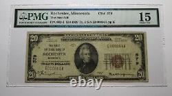20 1929 Rochester Minnesota Mn Monnaie Nationale Banque Note Bill #579 F15 Pmg