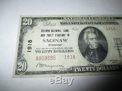 $ 20 1929 Saginaw Michigan MI Billet De Banque National Bill Ch. # 1918 Amende