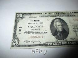 $ 20 1929 Saginaw Michigan MI Billet De Banque National Bill Ch. # 1918 Vf