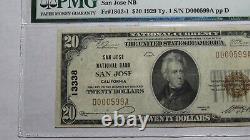 20 $ 1929 San Jose En Californie Ca Banque Nationale Monnaie Note Bill # 13338 Vf25 Pmg
