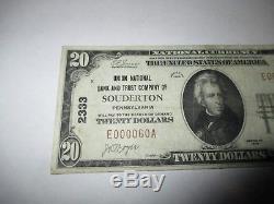 20 $ 1929 Souderton Pennsylvanie Pa Banque Nationale Monnaie Note Bill # 2333 Vf