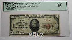 $ 20 1929 South Deerfield Massachusetts Ma Monnaie Nationale De Billets De Banque Bill! Vf25