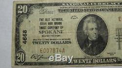 $ 20 1929 Spokane Washington Wa Banque Nationale Monnaie Note Bill! Ch. # 4668 Vf