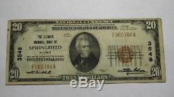 20 $ 1929 Springfield Illinois IL Banque Nationale Monnaie Note Bill Ch. # 3548 Vf