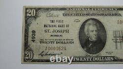 20 $ 1929 St. Joseph Missouri Mo Monnaie Nationale Banque Note Bill Ch. #4939 Vf