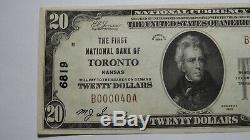20 $ 1929 Toronto Kansas Ks Banque Nationale Monnaie Note Bill! Ch. # 6819 Au ++