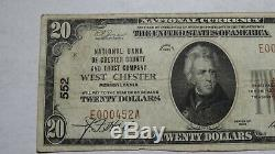 20 $ 1929 West Chester Pennsylvania Pa Banque Nationale Monnaie Note Bill! Ch. # 552