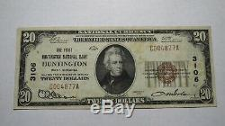 20 $ 1929 West Huntington Virginie Virginie-occidentale Banque Nationale Monnaie Note Bill # 3106 Vf +