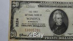 20 $ 1929 Winona Minnesota Mn Banque Nationale Monnaie Note Bill Ch. # 3224 Fin