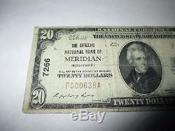 2029 $ 1929 Meridian Mississippi Ms Banque Nationale De Billets De Banque Note! Ch # 7266 Fine