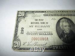 2029 $ 1929 Mount Pleasant Iowa Ia Banque De Monnaie Nationale Note Bill Ch. # 299.