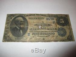 5 $ 1882 Athol Massachusetts Ma Billets De Banque Nationaux, Billets N ° De Facture 2172 Date Back
