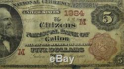 5 $ 1882 Galion Ohio Oh Brown Retour Banque Nationale Monnaie Note Bill! # 1984 Rare