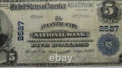 5 $ 1902 Atlantic City New Jersey Nj Monnaie Nationale Bill #2527 Fine+