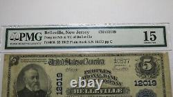 $5 1902 Belleville New Jersey Nj National Currency Bank Note Bill Ch. #12019 Pmg