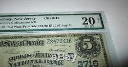 5 $ 1902 Billet De Banque National En Devise Du Woodbury New Jersey Nj Facture N ° 3716 Vf Pmg
